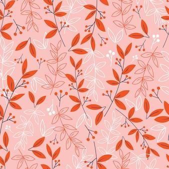 Botaniczny wzór z czerwonych liści i kwiatów.