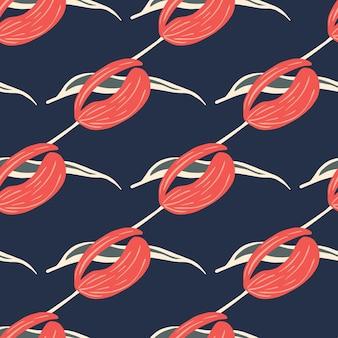 Botaniczny wzór z elementami jasny różowy tulipan proste kwiaty. granatowe tło. projekt graficzny do owijania tekstur papieru i tkanin. ilustracja wektorowa.