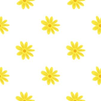 Botaniczny wzór z jasnożółtymi kwiatami daisy wydruku. na białym tle tło. kwiatowy ręcznie rysowane wydruku. projekt graficzny do owijania tekstur papieru i tkanin. ilustracja wektorowa.