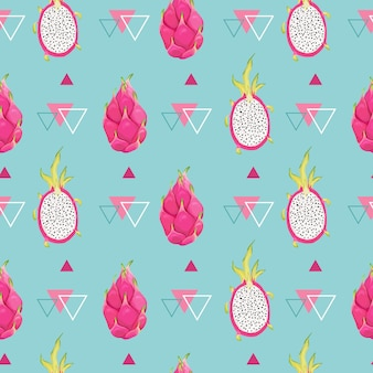 Botaniczny wzór z owocami smoka, tło pitaja. ręcznie rysowane ilustracji wektorowych w stylu przypominającym akwarele na letnią romantyczną okładkę, tropikalna tapeta, tekstura vintage