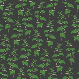 Botaniczny wzór z pokrzywą na czarno