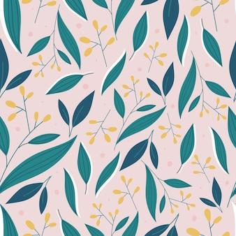 Botaniczny wzór z zielonych liści i żółte kwiaty
