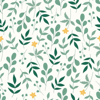 Botaniczny wzór z zielonymi liśćmi i różowymi kwiatami