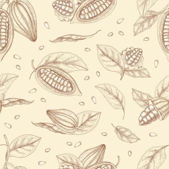Botaniczny wzór ze strąkami lub owocami ziaren kakaowych i liści ręcznie rysowane z liniami konturu na jasnym tle