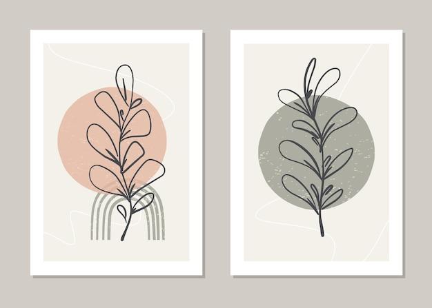 Botaniczny zestaw abstrakcyjny wzór z kwiatami i gałęziami