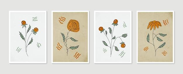 Botaniczny zestaw obrazów na ścianę kolekcja plakatów ze sztuką współczesną minimalistyczne i naturalne obrazy na ścianę