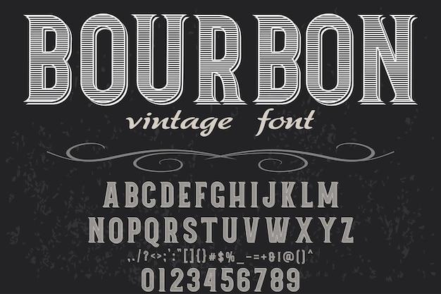 Bourbon stary styl czcionki projekt etykiety