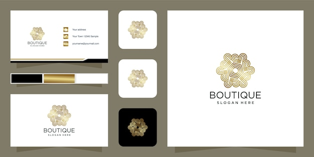 Boutique beauty logo design złoty kolor szablon