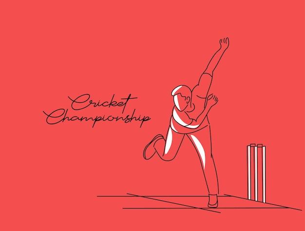 Bowling bowling w krykiecie mistrzostwa sportowe line art vector design