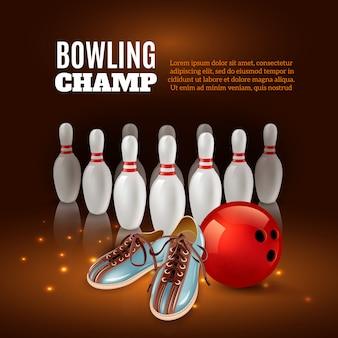 Bowling champ 3d kompozycja z pinów czerwoną piłkę i buty na ciemności z iskrami