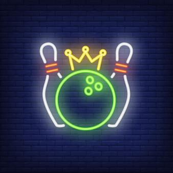 Bowling konkurencji neon znak