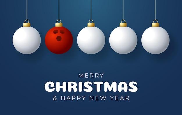 Bowling wesołych świąt i szczęśliwego nowego roku sport kartkę z życzeniami. kula do kręgli jako piłka boże narodzenie na kolor tła. ilustracja wektorowa.