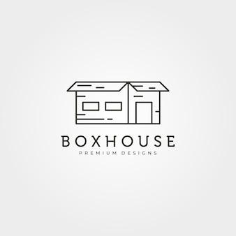 Box house kreatywny projekt logo wektor ilustracja projekt, projekt linii sztuki