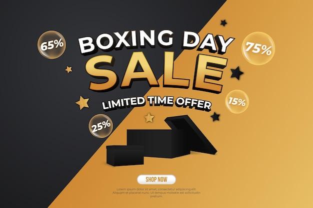 Boxing day sale banner szablon wektor z czarnym złotym tłem