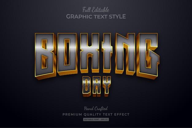Boxing day silver gold edytowalny efekt stylu tekstu premium