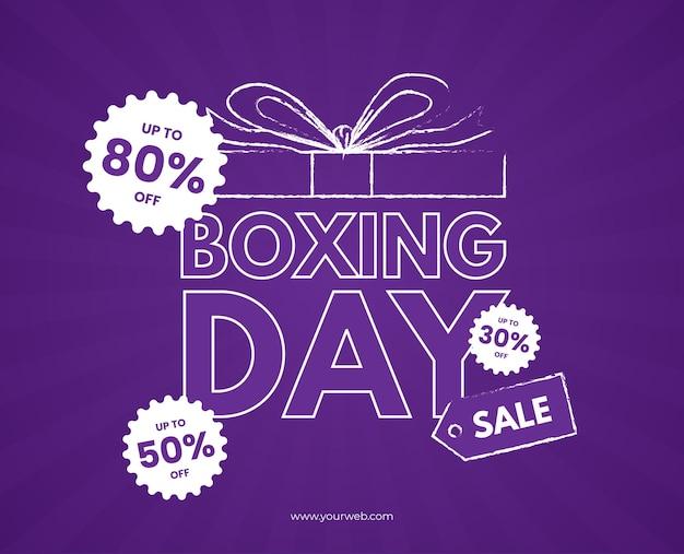 Boxing day sprzedaż fioletowe pudełko kreskówka niebieski sunburst kreda wektor