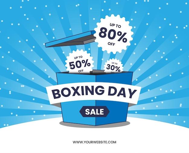 Boxing day sprzedaż niebieskie pole kreskówka niebieski sunburst śnieg wektor