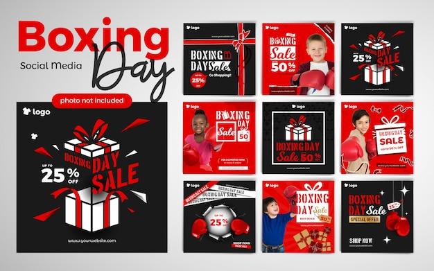 Boxing day wyprzedaż moda dziecięca szablon mediów społecznościowych