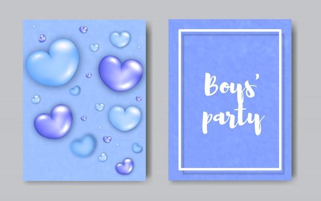 Boys party nowoczesne modne koncepcji ulotki