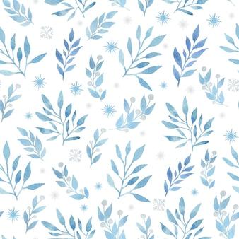 Boże narodzenie akwarela bezszwowe wzór z niebieskimi gałęziami