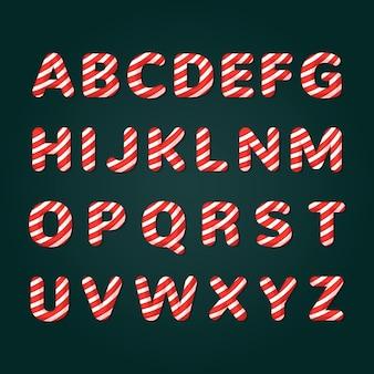 Boże narodzenie alfabet paczka trzciny cukrowej