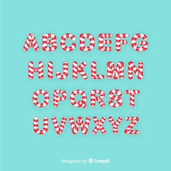 Boże narodzenie alfabet trzciny cukrowej