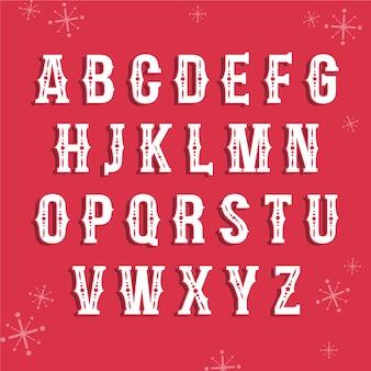 Boże narodzenie alfabet vintage ilustracji