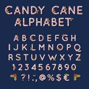 Boże Narodzenie Alfabet Z Trzciny Cukrowej Darmowych Wektorów
