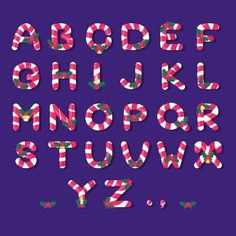 Boże narodzenie alfabet z trzciny cukrowej