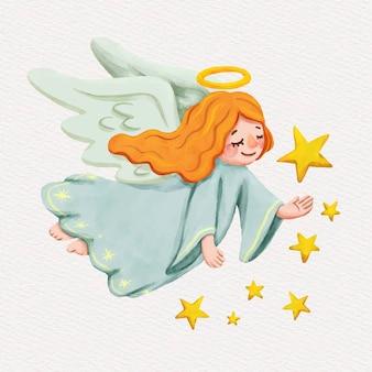 Boże narodzenie anioł akwarela ilustracja