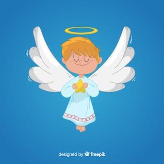 Boże narodzenie anioł w ręku rysowane