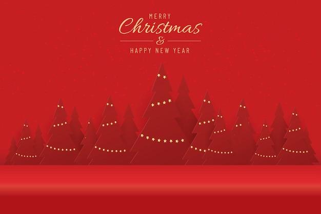 Boże narodzenie banner na obecny produkt z choinką na czerwonym tle. tekst wesołych świąt i szczęśliwego nowego roku.