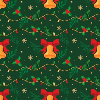 Boże narodzenie bez szwu dekoracje świąteczne lampki i dzwonki i liści ostrokrzewu