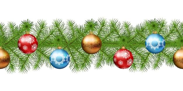 Boże narodzenie bez szwu wianek z gałęzi jodły z dekoracjami