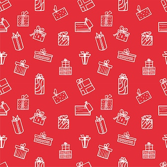 Boże narodzenie bez szwu wzór z białymi ikonami prezentów na czerwonym tle. wzór zimowy można wykorzystać do pakowania papieru. ilustracji wektorowych.