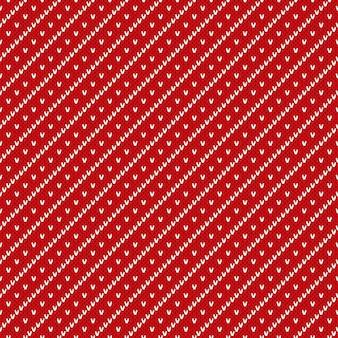 Boże Narodzenie Bezszwowe Tło Dziewiarskie. Czerwony Wzór Z Dzianiny Premium Wektorów