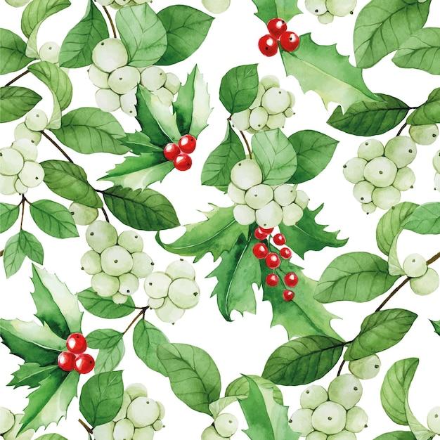 Boże narodzenie bezszwowe wzór akwareli z jagodami śniegu i ostrokrzewem