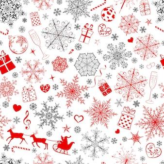 Boże narodzenie bezszwowe wzór dużych i małych płatków śniegu i różnych symboli świątecznych, szary i czerwony na białym tle