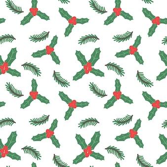 Boże narodzenie bezszwowe wzór holly oddział i jagody nowy rok uroczysty tło