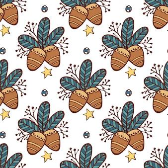 Boże narodzenie bezszwowe wzór liści, orzeszki piniowe