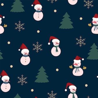 Boże narodzenie bezszwowe wzór natura, zimowy las, kolory ciemny niebieski, czerwony, drzewa, śnieg, noc, czarne tło. materiał tkaniny, opakowania, tapety, projektowanie tekstyliów, ilustracji wektorowych