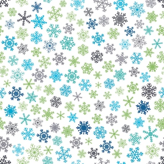 Boże narodzenie bezszwowe wzór płatki śniegu, niebieski i zielony na białym tle.