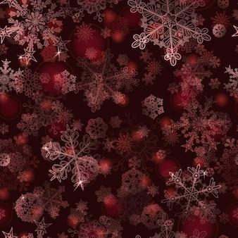 Boże narodzenie bezszwowe wzór płatków śniegu, biały na czerwonym