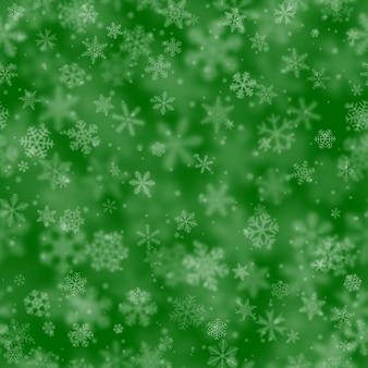 Boże narodzenie bezszwowe wzór płatków śniegu o różnych kształtach