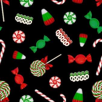 Boże narodzenie bezszwowe wzór tekstury z laski cukierki cukierki i lizaki