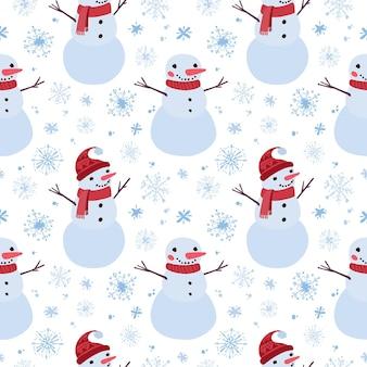 Boże narodzenie bezszwowe wzór z bałwanami i płatkami śniegu holiday cyfrowy papier