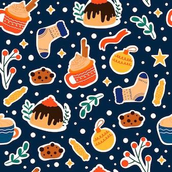 Boże narodzenie bezszwowe wzór z cute elementów zimowych, cukierki, pierniki i gałęzie. wektor