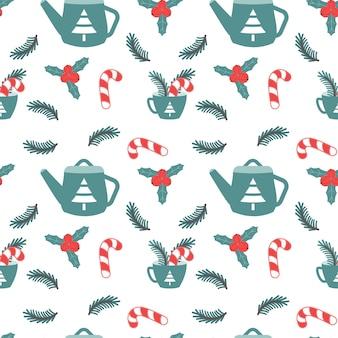 Boże narodzenie bezszwowe wzór z czajniczek filiżanka i cukierki nowy rok xmas wakacje wektor ilustracja