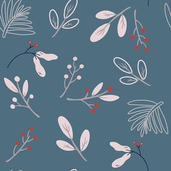 Boże narodzenie bezszwowe wzór z jagodami i gałązkami. kreatywne skandynawskie tło dla tapet, odzieży, opakowań zaproszeń, plakatów. tło ozdoba zima wakacje.