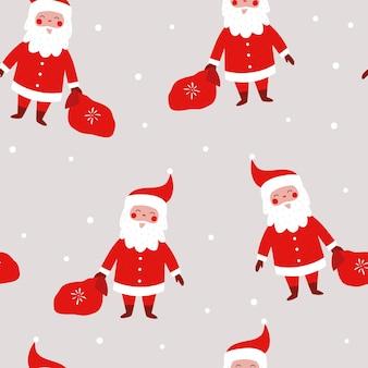 Boże narodzenie bezszwowe wzór z śmiesznym mikołajem z torbą prezentów płatki śniegu